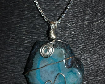 Wire Wrapped Blue Agate Stone Pendant Necklace
