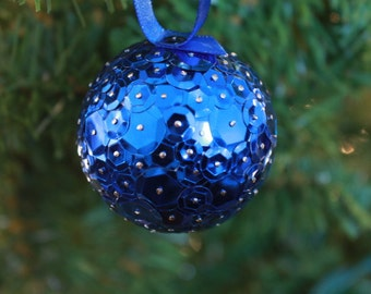 2 Inch Blue Sequins Ornament