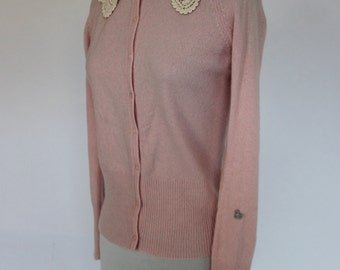 Pastel Pink Cashmere Cardigan with Crochet Collar