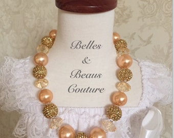 Champagne - Gold - Wedding - Flower Girl -Chunky Bead Necklace -Bubblegum Necklace -Photo Prop - Cake Smash - Girls Jewelry - Posh - Couture