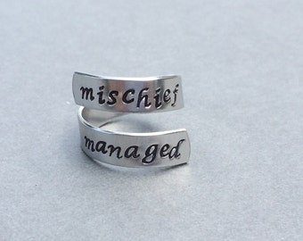 Mischief Managed Ring Hand Stamped Aluminum Ring