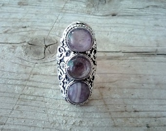 Ring Amethyst Tibetan, Tibetan silver carved ring Boho, ethnic, Adjustable ring 3 amethysts, Gypsy, Chic