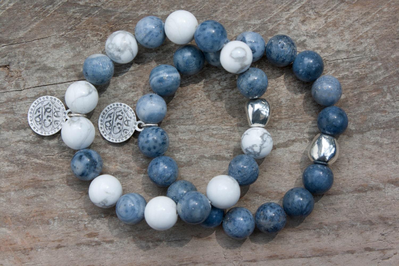 Howlith blaue Koralle Armbänder Set Schmuck Zamak-Chic  Howlith blaue K...