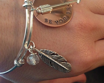 Be You Bravely Feather Bangle