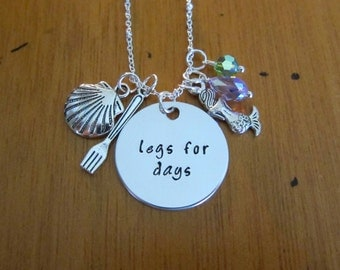 """Sassy Princess Necklace. Little Mermaid necklace. """"Legs for days"""" Mermaid necklace. Swarovski crystal elements. Perfect for Bounding."""