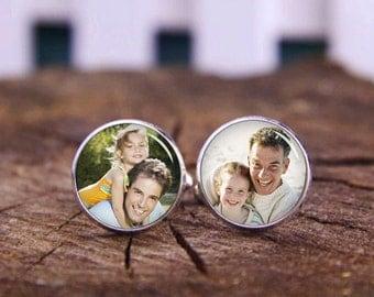 Cusotm Own Photo Cufflinks, Custom Picture Cufflinks, Wedding Tie Tacks, Groom Tie Clips, Custom Wedding Cuff Links, Personalized Cuff Links