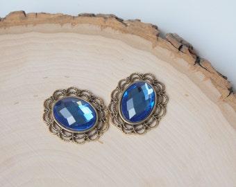 Oval Rhinestone Button Embellishment - Flatback Crystal - Blue - 3 pieces