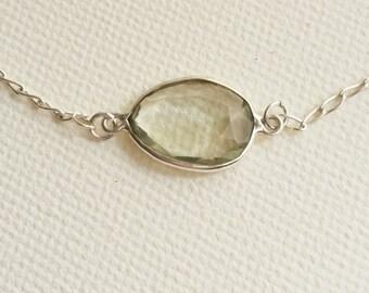 Lemon Yellow Quarz Silver Chain Necklace. Gem stone Quartz framed in silver. Handmade jewellery