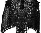 1880s One Size Crocheted Beaded Cape Victorian Mourning Edwardian Elegant Black Tie Steampunk Flapper Ornate Wedding Couture Burlesque 1800s