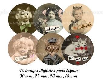 digital collage sheet cats kitten digital  images cat, cat images, vintage images, one inch circle , cat bottle caps,  instant download