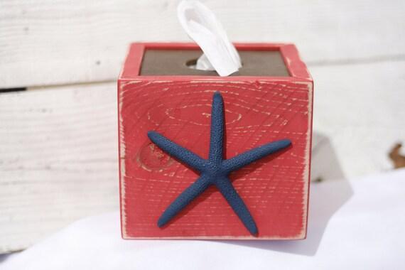 Starfish red tissue kleenex box cover nautical beach ocean - Beach themed tissue box cover ...