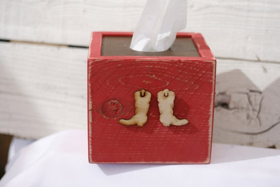 Cowboy boots tissue box cover red country western bathroom decor