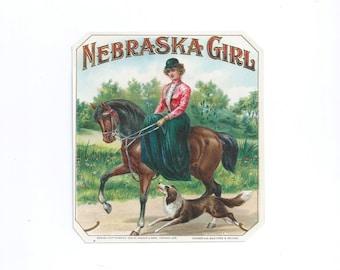 Vintage 1920s Lithograph Cigar Label Outer Label NEBRASKA GIRL