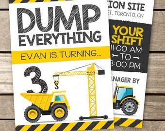 Construction Birthday Invitation, Construction Site Birthday Invite, Construction Party Theme, Digger Birthday Invite, Construction theme