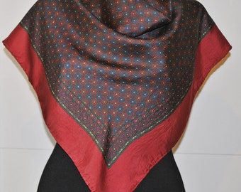 Vintage Silk Scarf - Square Scarf - bordeaux print scarf - hand rolled
