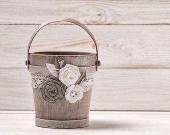Flower Girl Basket Wedding Basket Bridal Shower Basket Rustic Wedding Bucket Lace and Burlap Flower Girl Basket