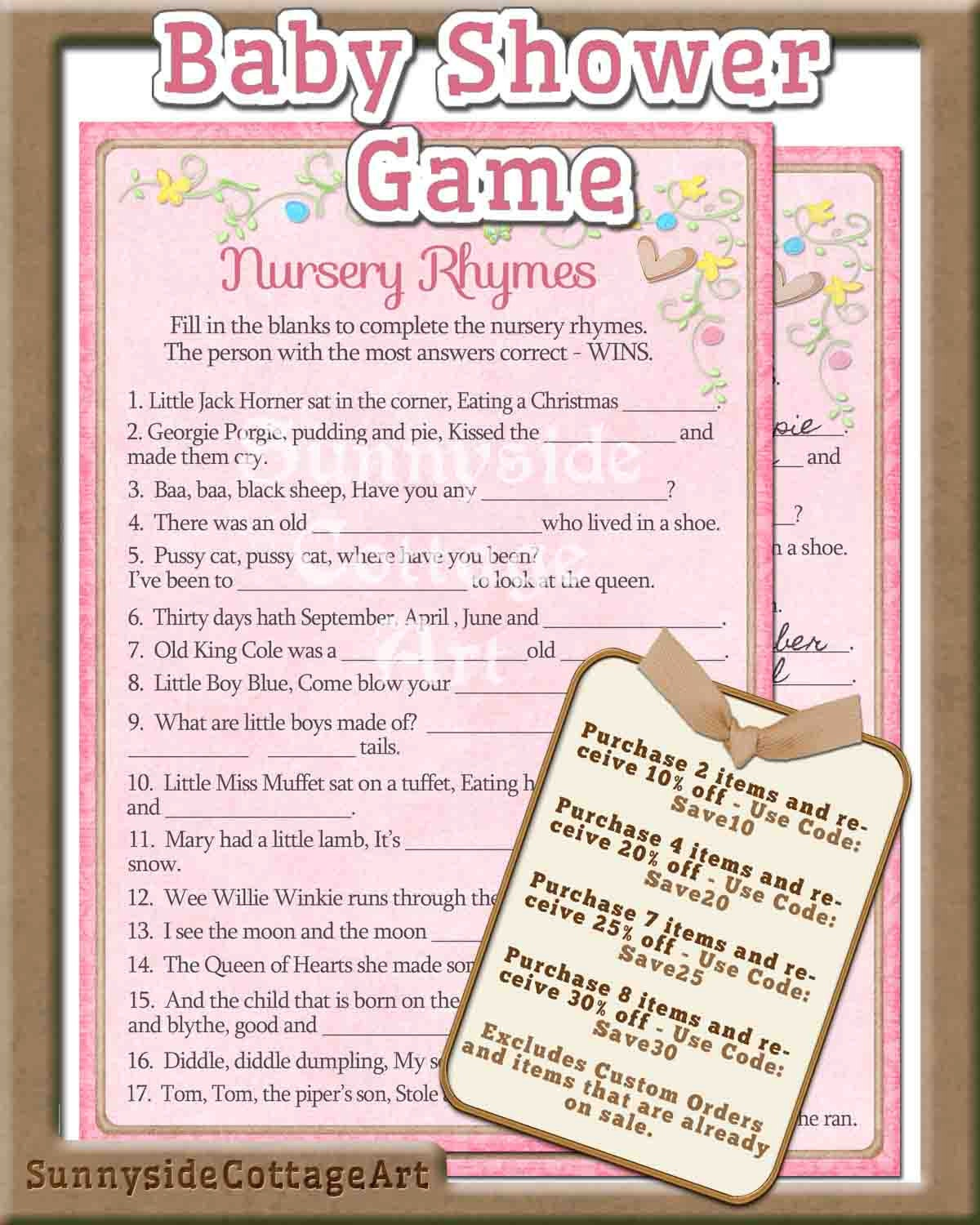 nursery rhyme baby shower game printable by sunnysidecottageart