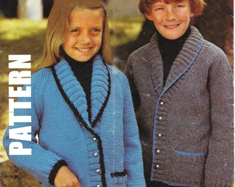 Knitting Pattern, Kids Knitted Collar Jackets, Children's Hand Knits, PDF Instant Download, 50% OFF JUNE