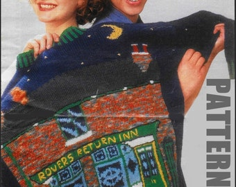 Rovers Return Sweater, Knitted Sweater, Coronation Street, Vintage Pattern, Knitting Pattern, PDF Instant Download, Knitted Jumper