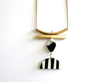 Minimalist Necklace - Geometric Long Necklace - Half Moon Necklace - Black and White Necklace - Striped - Statement - Leather Necklace