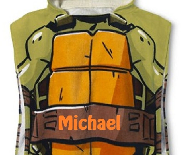 TMNT Mutant Ninja Boy's Hooded Towel Poncho Orange Turtle – Personalized
