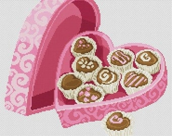 "Cross stitch pattern ""Valentines day candy"""