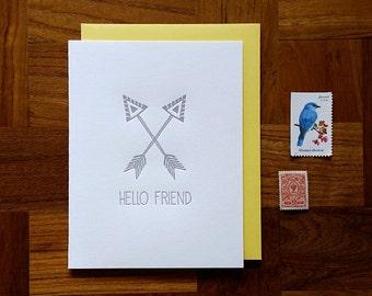 Hello Friend, Letterpress, Folded Note Card, Blank Inside