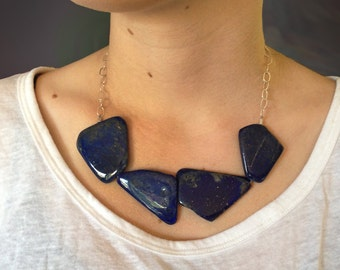 Lapis Genuine Natural AAA Geometric Slab 925 Sterling Silver Statement Necklace