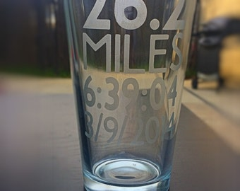 Marathon Gift, Runner Glass, Personalized with Miles, Your Time and the Date of the Race, Gift for Runner, Race Glass