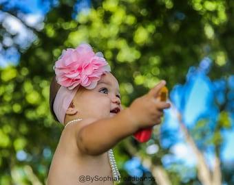 Baby Headband, Light Pink Flower Headband, Pink Baby Headband, Big Flower Headband, Flower Girl Headband, Pink Big Flower Headband, 914
