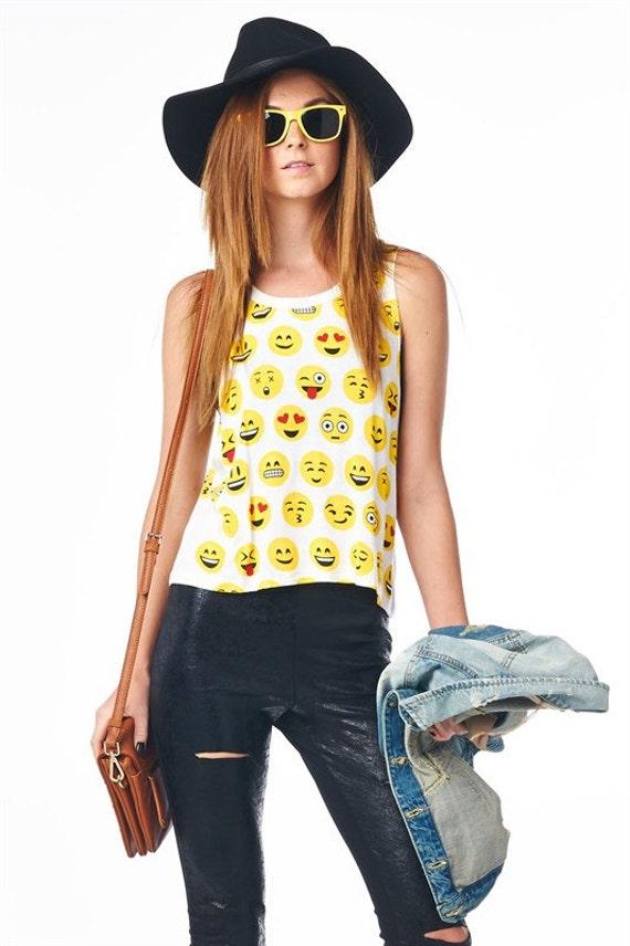 Emoji Love Print Tank Top- Emoji Tee- Emoticon Tank Top- Heart Emoji