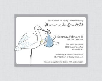 Stork Baby Shower Invitation Printable or Printed Invite - Stork Baby Shower Invites in Blue and Gray Baby Boy Invitations - 0003