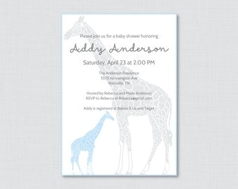 Giraffe Baby Shower Invitation Printable or Printed - Giraffe Baby Shower Invites in Blue and Gray, Boy Baby Shower Invitation - 0011-B