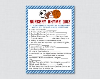 Sports Themed Baby Shower Nursery Rhyme Quiz Baby Shower Game in Blue and Red - Printable Instant Download - Sports Baby Game -0015-B