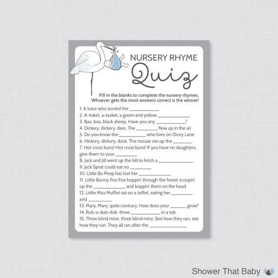 Stork baby shower nursery rhyme quiz baby shower game printable