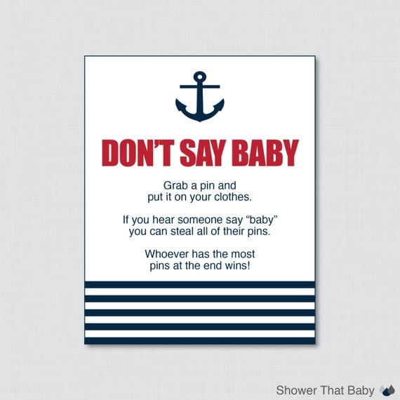 High Quality Nautical Donu0027t Say Baby Baby Shower Game Printable   Donu0027t Say Baby Sign  Diaper Pin Clothes Pin Game   Instant Download   Red Navy 0029 R