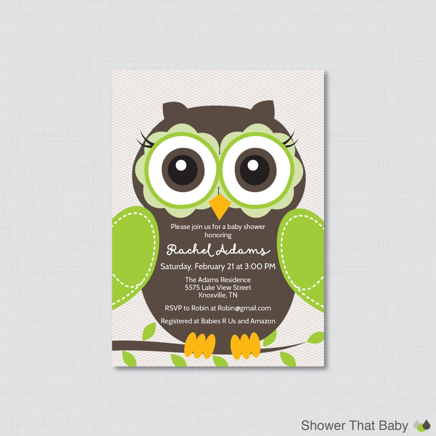 owl baby shower invitation printable or printed owl themed