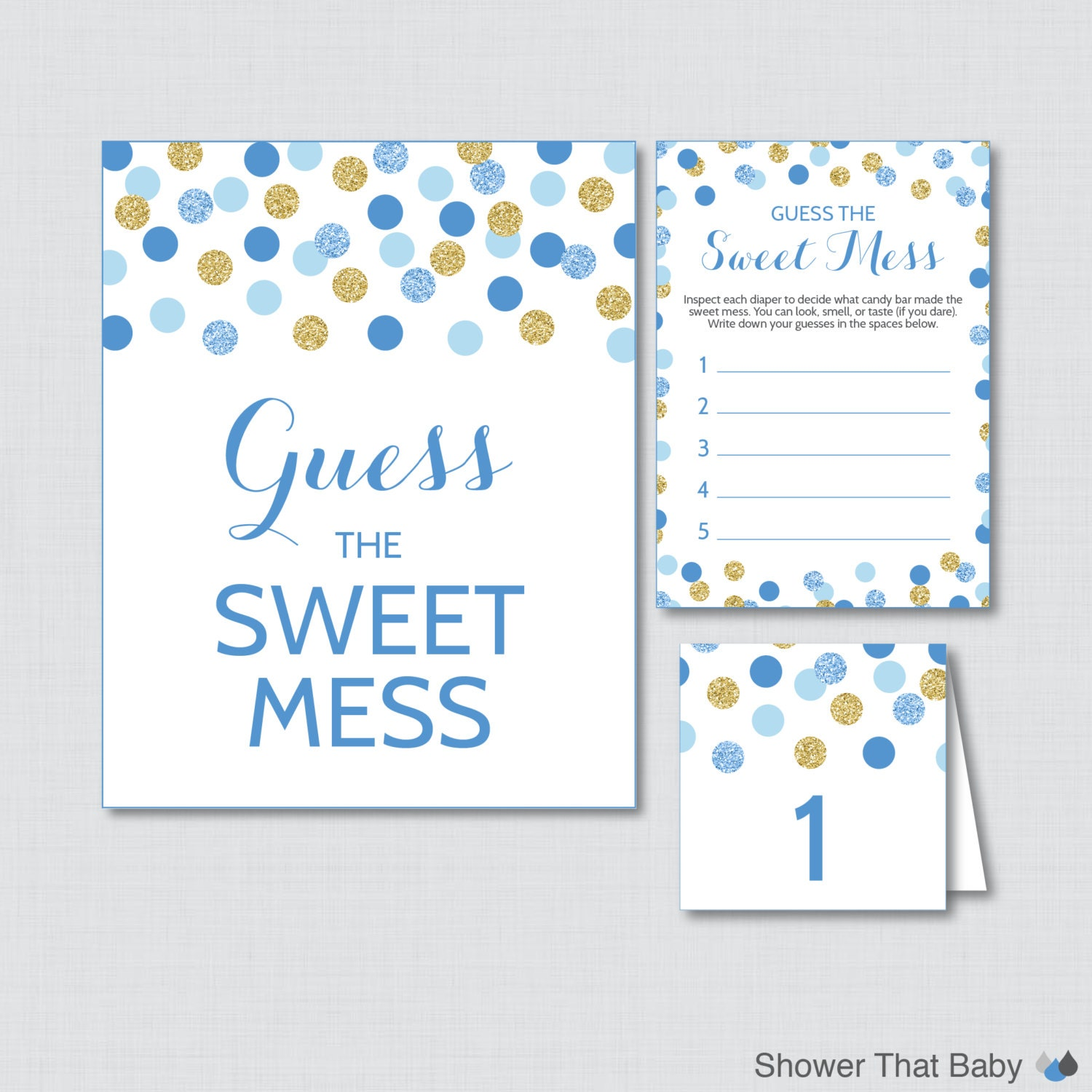blue and gold baby shower diaper candy bar game printable