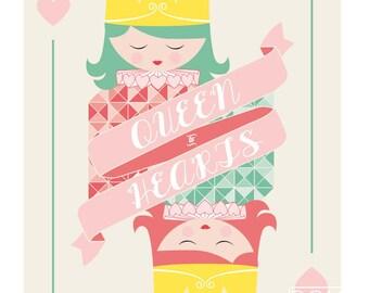 Queen poster, little girls room, queen of hearts, alice in wonderland, children's art decor