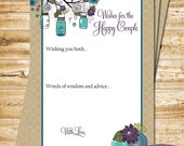 Couples Advice Card - Well Wishes Card Peacock Blue Mason Jars - Advice for Bride - Well Wishes for the Happy Couple -9101 -INSTANT DOWNLOAD