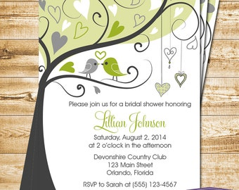 Green Lovebirds Bridal Shower Invitation - Green Love Birds Bridal Shower Invite - Lovebirds Wedding Shower Invitation - 1172 PRINTABLE