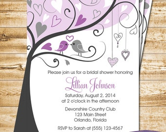 Purple Lovebirds Bridal Shower Invitation - Purple Love Birds Bridal Shower Invite - Lovebirds Wedding Shower Invitation - 1170 PRINTABLE