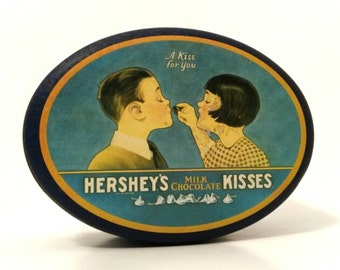 Vintage Tin - Hershey's Milk Chocolate Kisses - A kiss for you - Biscuit Tea Box - 1980's - Collectable - Blue Silver Yellow White