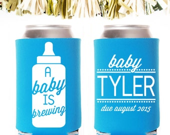 personalized and custom baby shower koozie a baby is brewing
