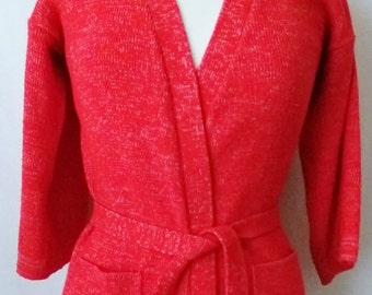 Vintage Wrap Sweater with Tie Belt