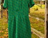 SALE! Vintage Knit Green Print Dress: Ben-Art New York