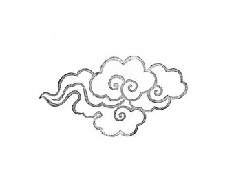 Large Cloud Rubber Stamp   015083