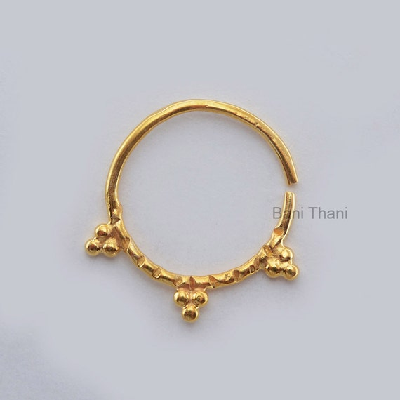 handmade gold plated 925 sterling silver nose ring jewelry