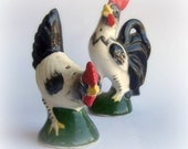 Vintage Salt and Pepper Shakers Rooster and Hen Hand painted Japan Farmhouse Urban Chicken Coop Decor