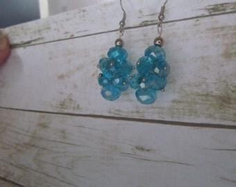 Turquoise Earrings, Turquoise Cluster Earrings, Blue Crystal Earrings, Bridal Earrings, Bridesmaid Gifts, Blue Earrings, Cluster Earrings